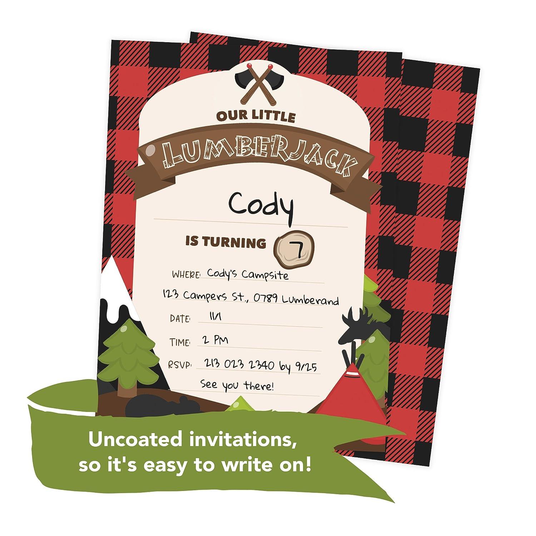 Amazon Lumberjack Happy Birthday Invitations Invite Cards 25