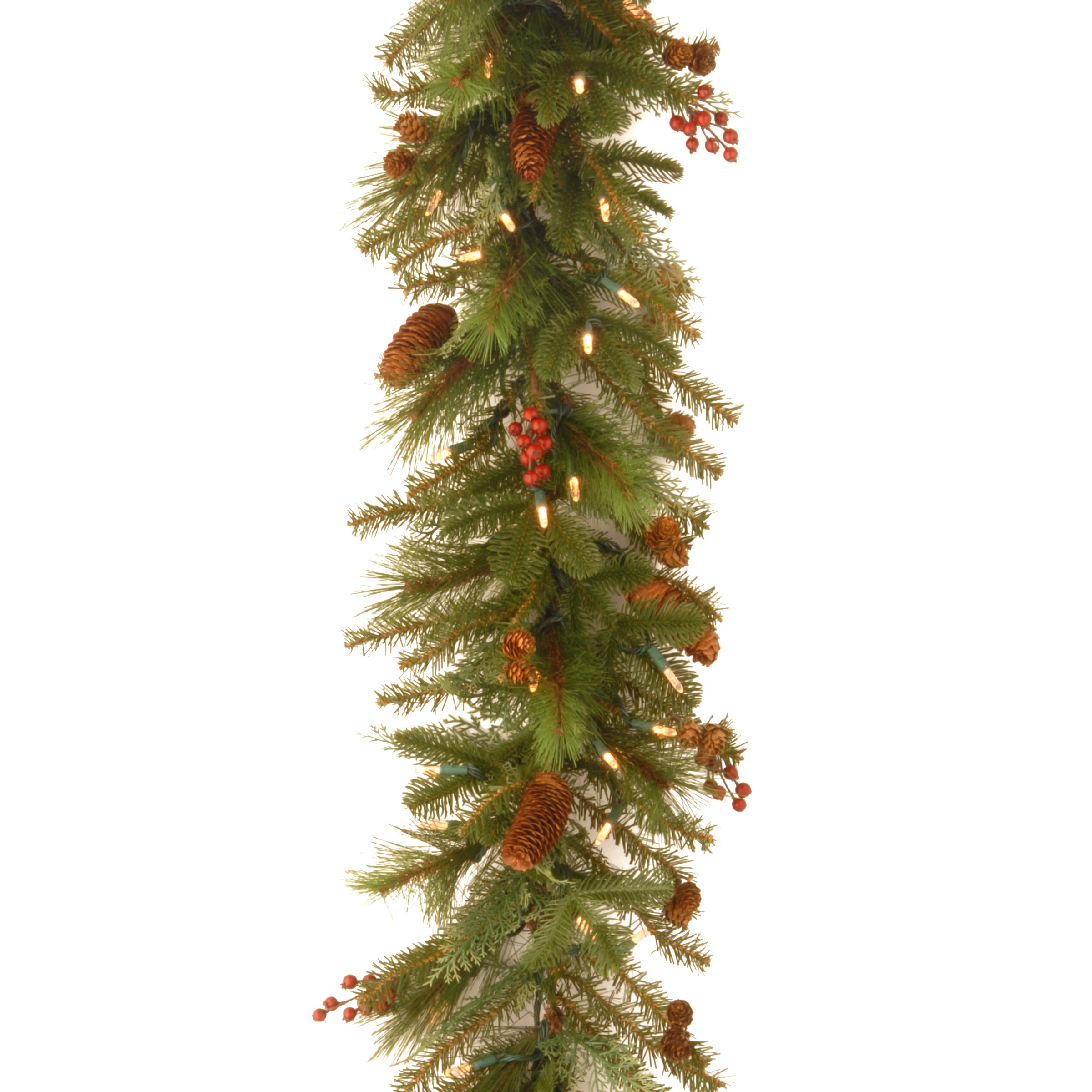 National Tree 6 Foot by 14 Inch Noelle Garland with Cones and 60 Battery Operated Soft White LED Lights (NL13-300L-6B-1)