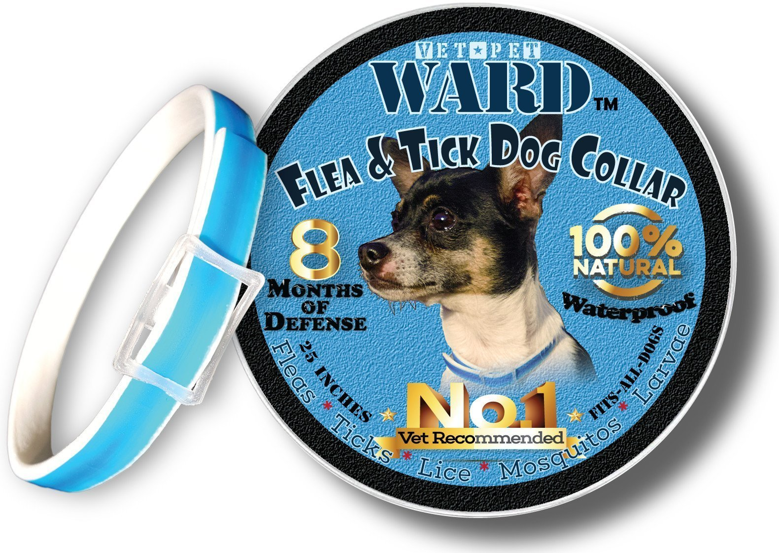 Flea Collar For Dogs Flea And Tick Control - Hypoallergenic tick collar - Adjustable One-Size-Fits-All - Tick Prevention, Flea Treatment for Dogs with All Natural Essential Oils Medicine 8 Month