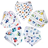 Aivedo Baby Bandana Drool Bibs,Unisex 5- Pack Set with Snaps -Infant Accessories