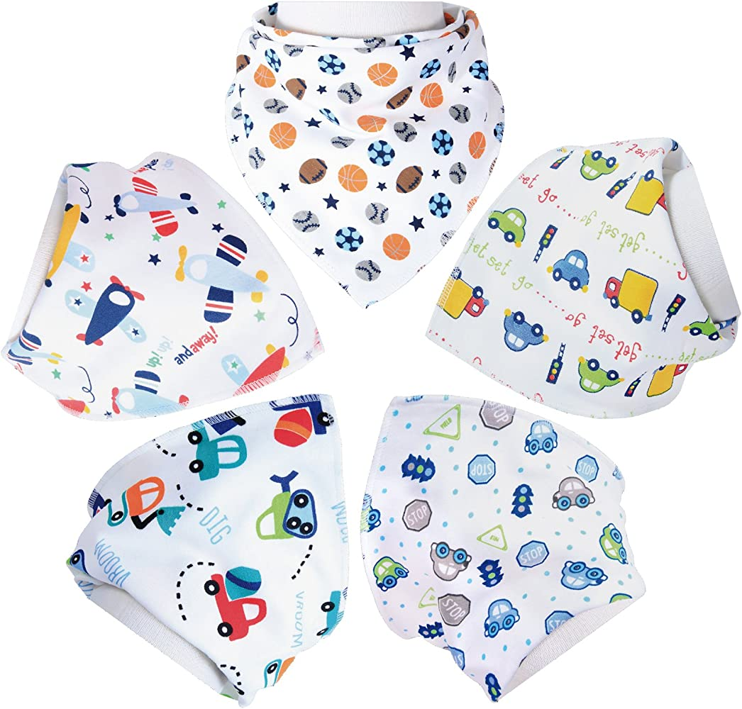800f0a1c736c1 Baby Bandana Drool Bibs,Unisex 5- Pack Set with Snaps -Infant Accessories
