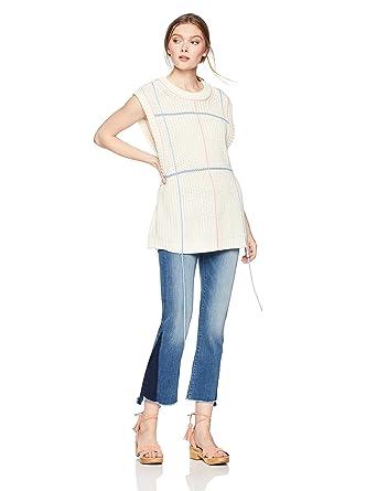 f56b0091de Amazon.com  Cable Stitch Women s Oversized Fringe Sweater  Clothing