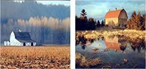 Old Barn Wall Decor Field Lake Tree Landscape Scenery Picture Set of Two 16x20 Art Print Poster