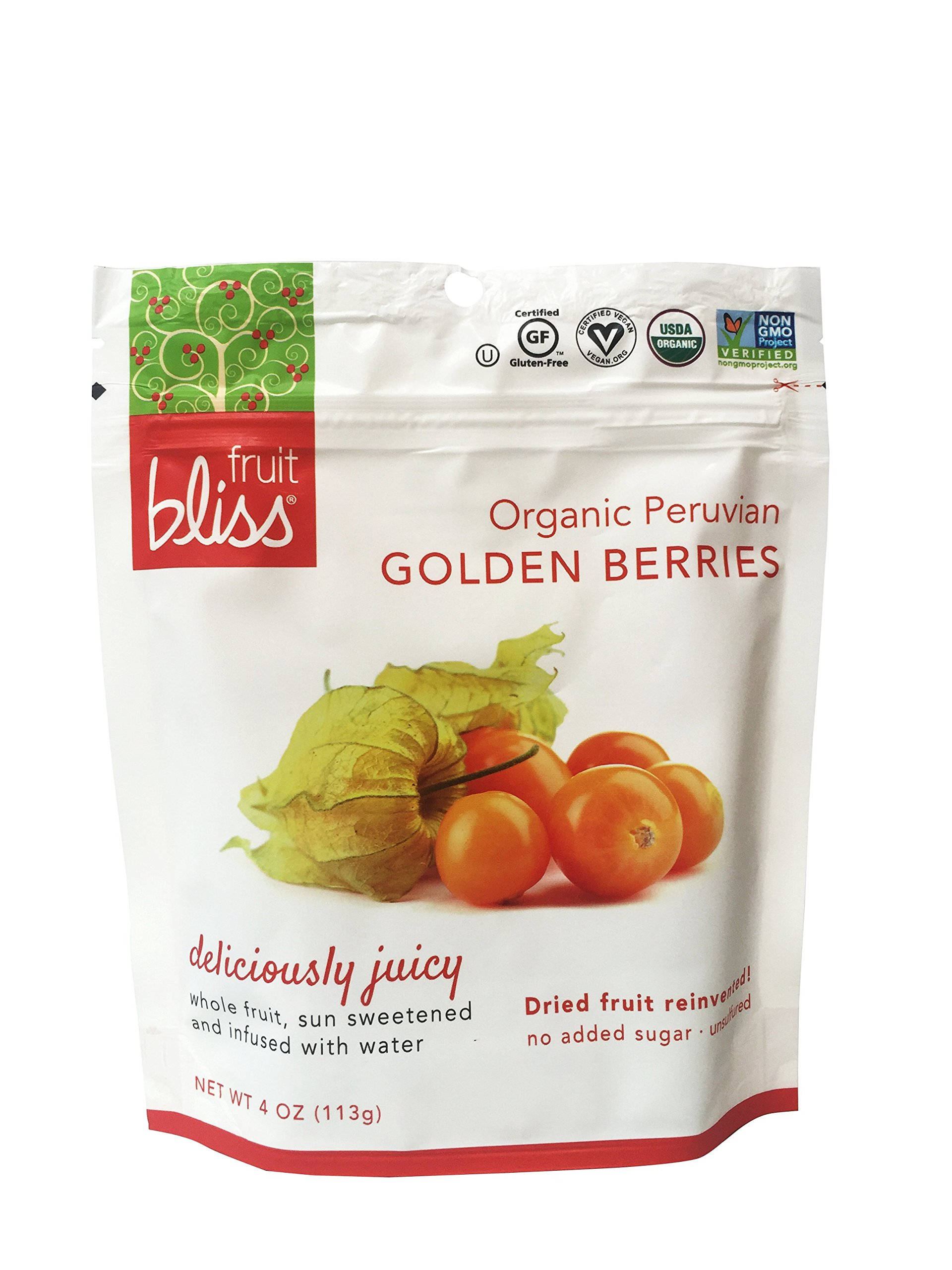 Fruit Bliss Organic Peruvian, Golden Berries, 4 Oz - 3 Pack by Fruit Bliss (Image #1)
