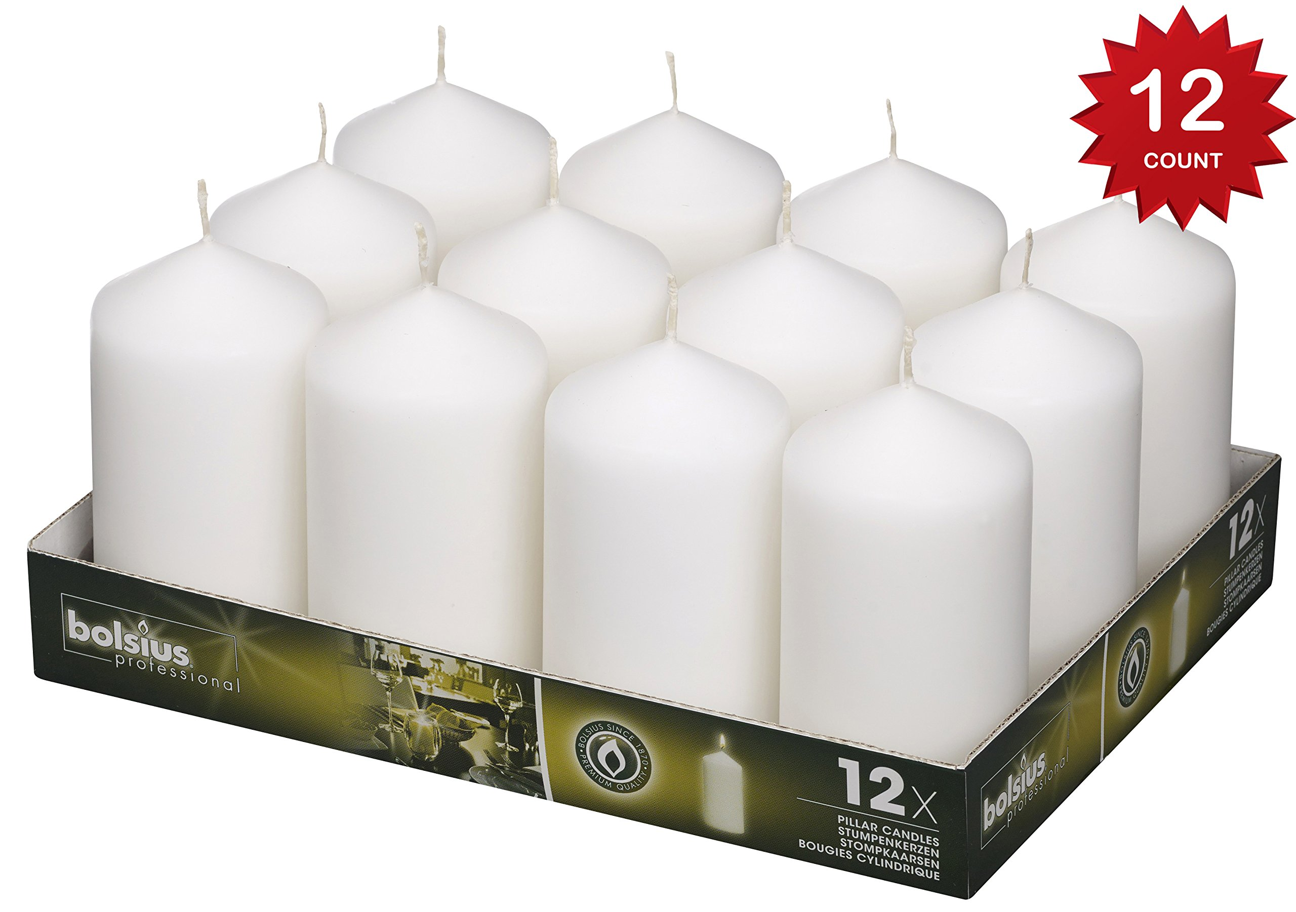 Bolsius Set Of Pillar Candles White 12Pk. 128 X 68mm (aprox 2.7x5 inch)