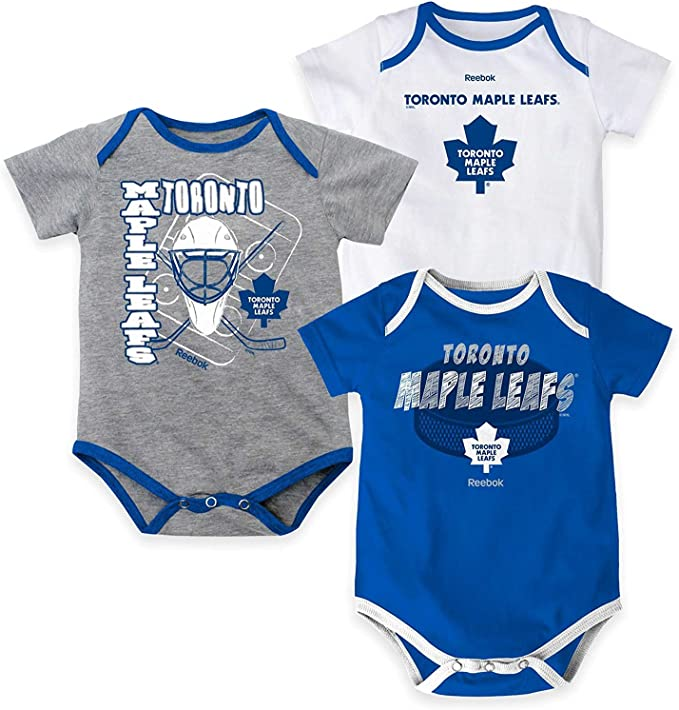 Toronto Maple Leafs Newborn Five On Three 3-Piece Creeper Set Size 6-9 Months