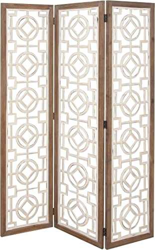 Deco 79 84339 Wooden 3-Panel Screen Divider, Brown White