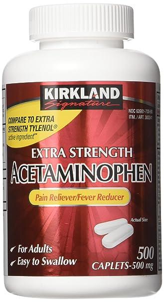 Kirkland Signature Extra Strength Acetaminophen 500MG Caplets (Pack of 2,  1000 Total Caplets)