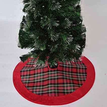 gireshome 50 red plaid christmas tree skirt with red suede border xmas tree decoration merry