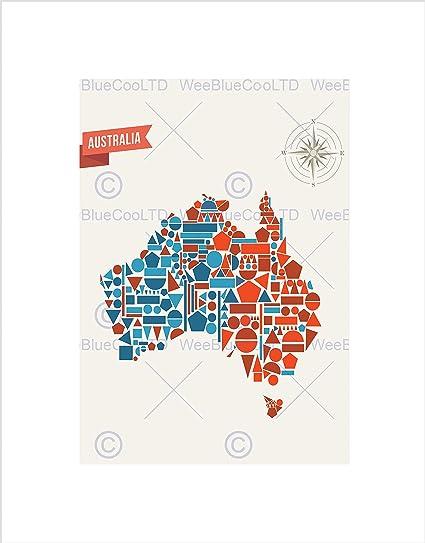 Australia Map Shape.Amazon Com Australia Geometric Map Shape Black Art Print Picture