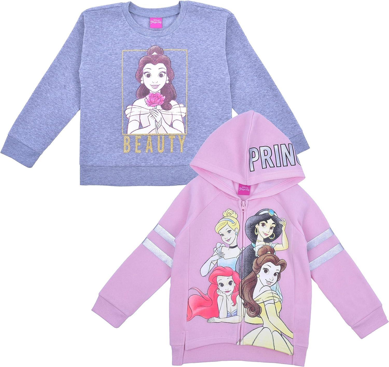 Disney Princess Girl's 2-Piece Zip Up Hoodie and Crewneck Sweatshirt Set
