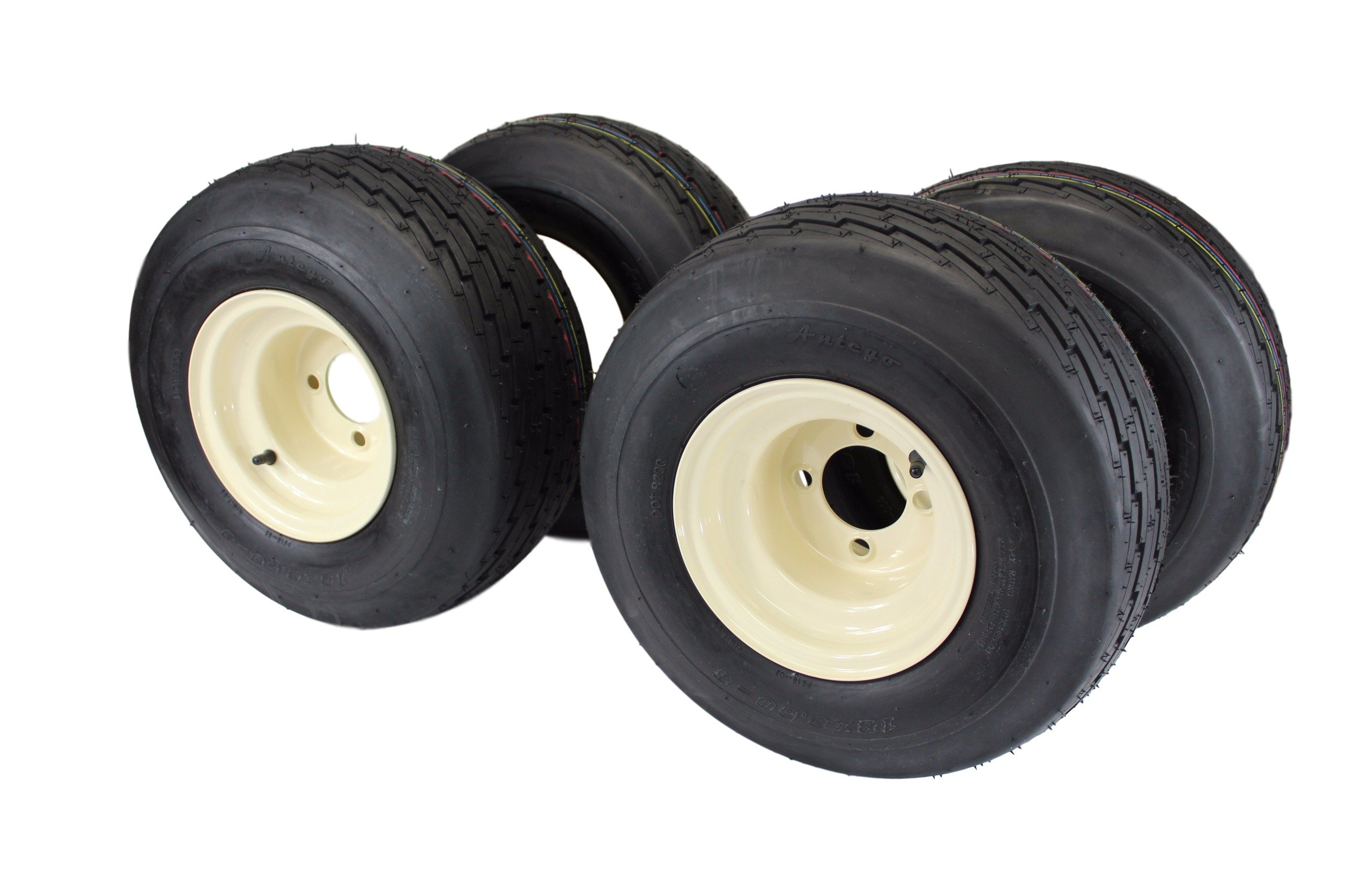 18x8.50-8 with 8x7 Tan Wheel Assembly for Golf Cart and Lawn Mower (Set of 4) by Antego Tire & Wheel (Image #1)