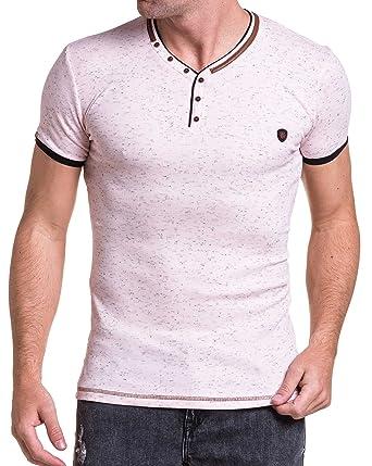 14a1b4b867ed BLZ Jeans - Tee-Shirt Homme Rose chiné Moulant col V  Amazon.fr  Vêtements  et accessoires