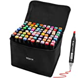 Artist Marker Set 80 Color Dual Tip Permanent Alcohol Based Markers Colored Artist Drawing Marker Pens,Highlighter Pen Sketch
