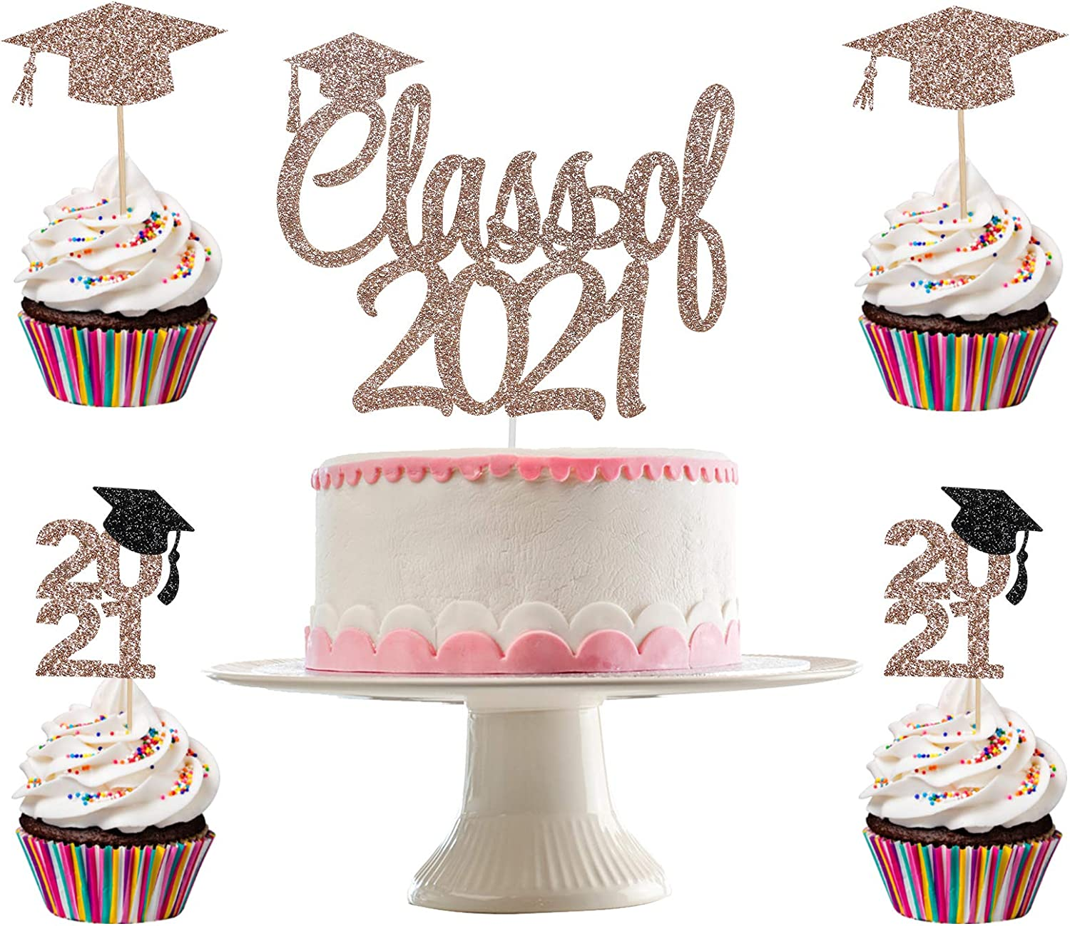 2021 Graduation Party Decoration Supplies Rose Gold Graduation Decorations 2021 Graduation Cake Topper 2021 Rose Gold Glitter Class of 2021 Cake Topper and 24Pcs Graduation Cupcake Toppers 2021