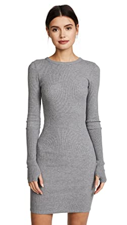 9ccedf724f77 Enza Costa Women's Cuffed Long Sleeve Mini Dress, Smoke, Grey, X-Small