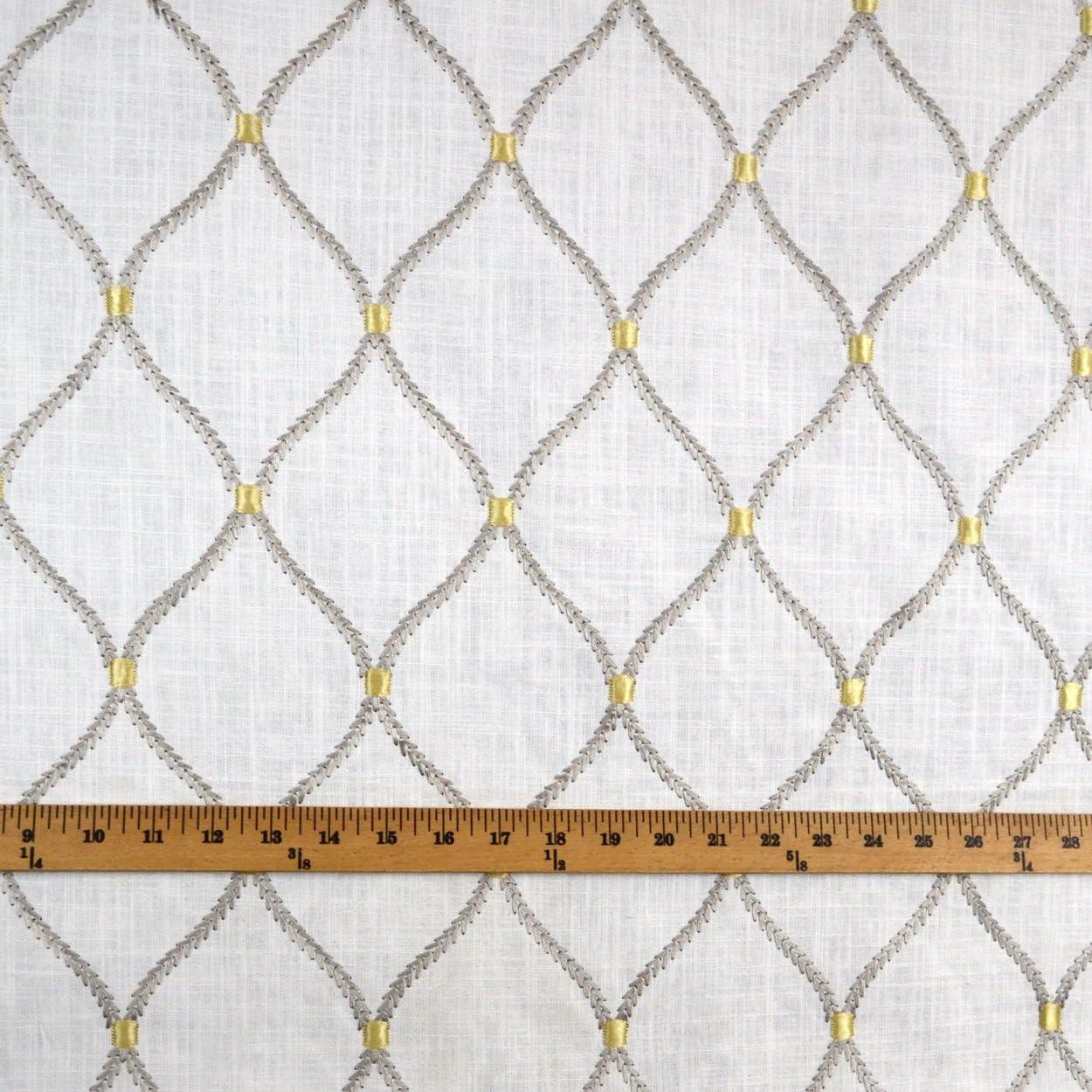Deane Embroidery Smoke Wavely Linen Trellis Fabric
