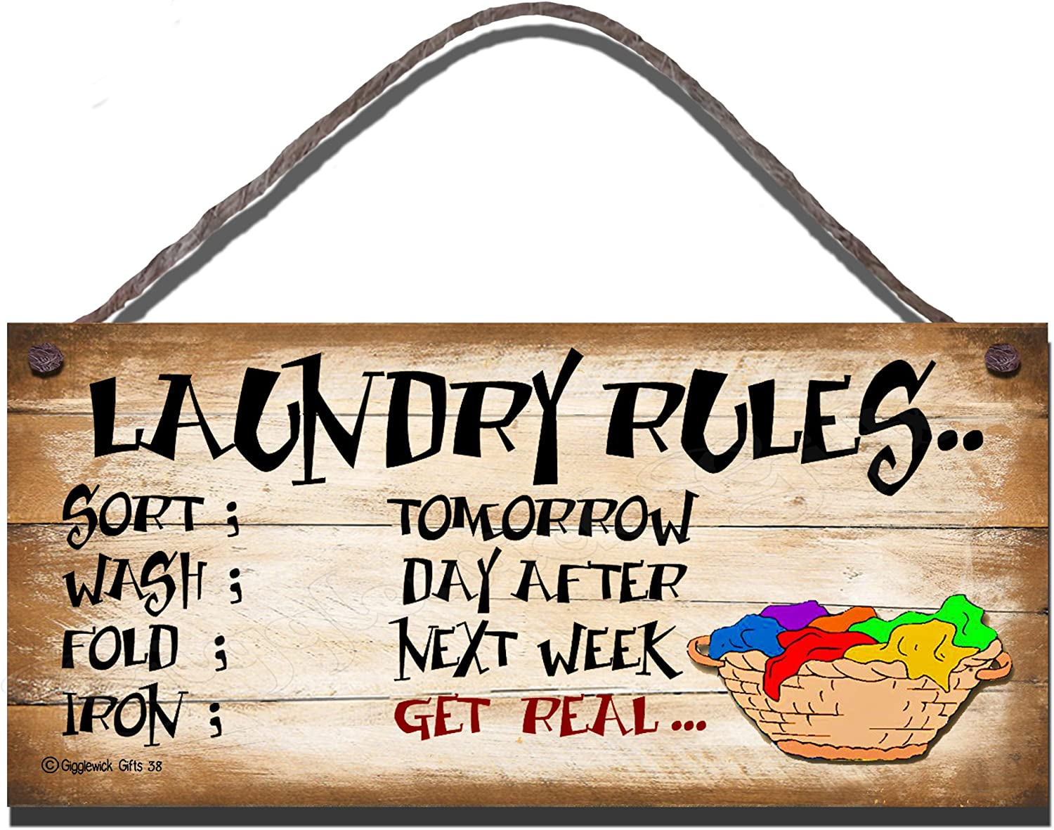 SHABBY CHIC FUNNY WOODEN SIGN LAUNDRY RULES GIFT PRESENT KITCHEN 38