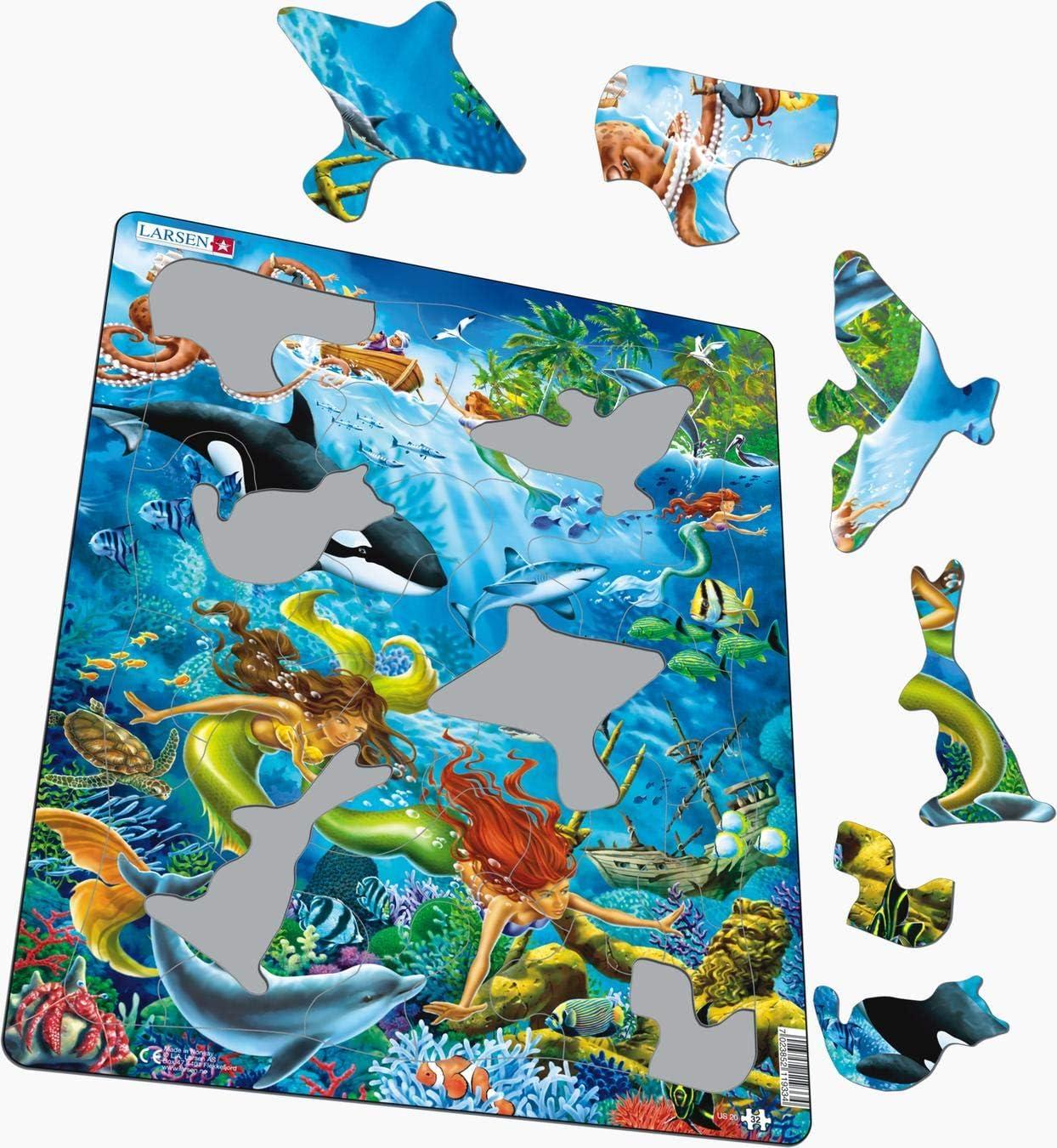 Puzzle Cadre avec de 32 pi/èces Larsen US20 Sir/ènes d/écouvrant Une Statue du Roi Neptune
