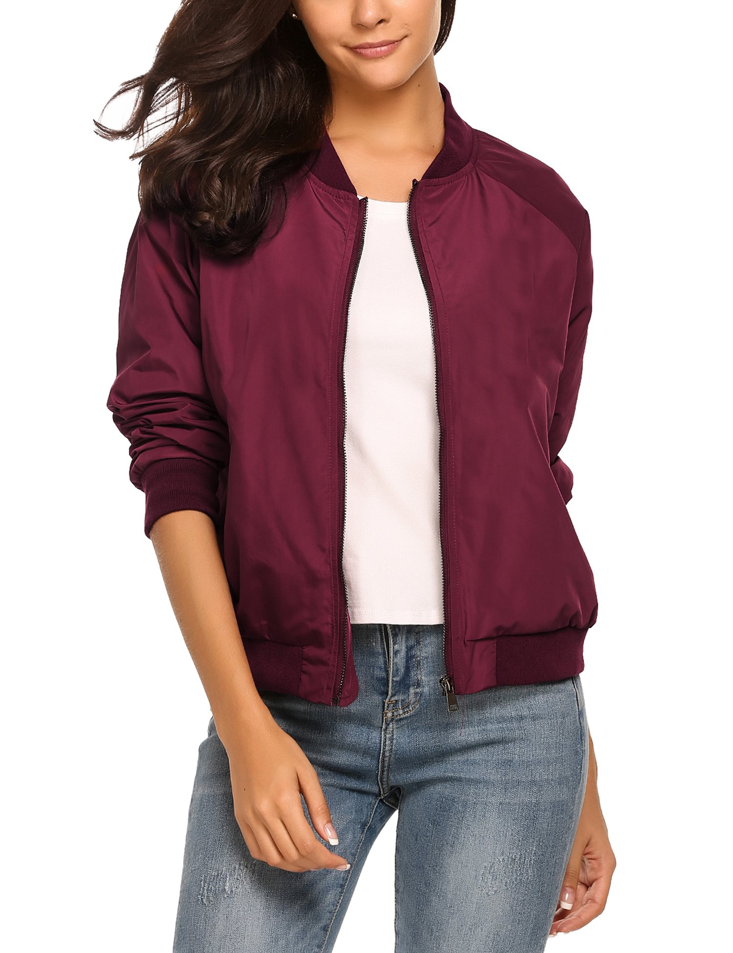Zeagoo Womens Classic Quilted Jacket Short Bomber Jacket Coat,Wine Red New,X-Large