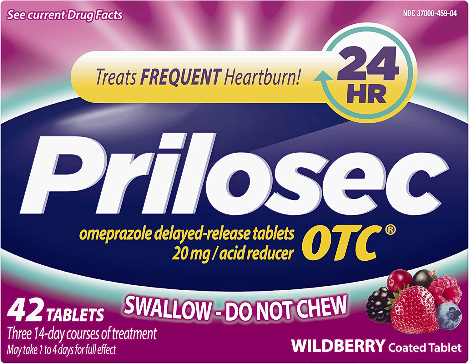 Prilosec OTC, Omeprazole Delayed Release, Acid Reducer, Treats Frequent Heartburn for 24 Hour Relief*, #1 Doctor Recommended Brand, Wildberry Flavor**, 42 Tablets