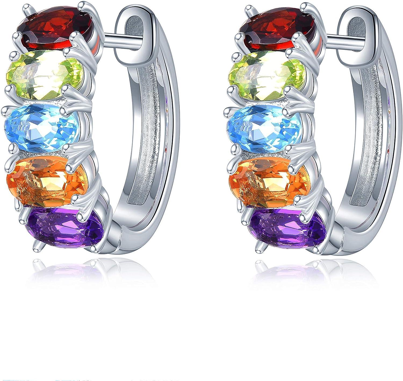 Hutang - Pendientes de aro de 5 x 3 mm con piedras preciosas naturales, amatista, peridoto, citrino, granate, plata de ley 925, joyería fina para regalo de mujer
