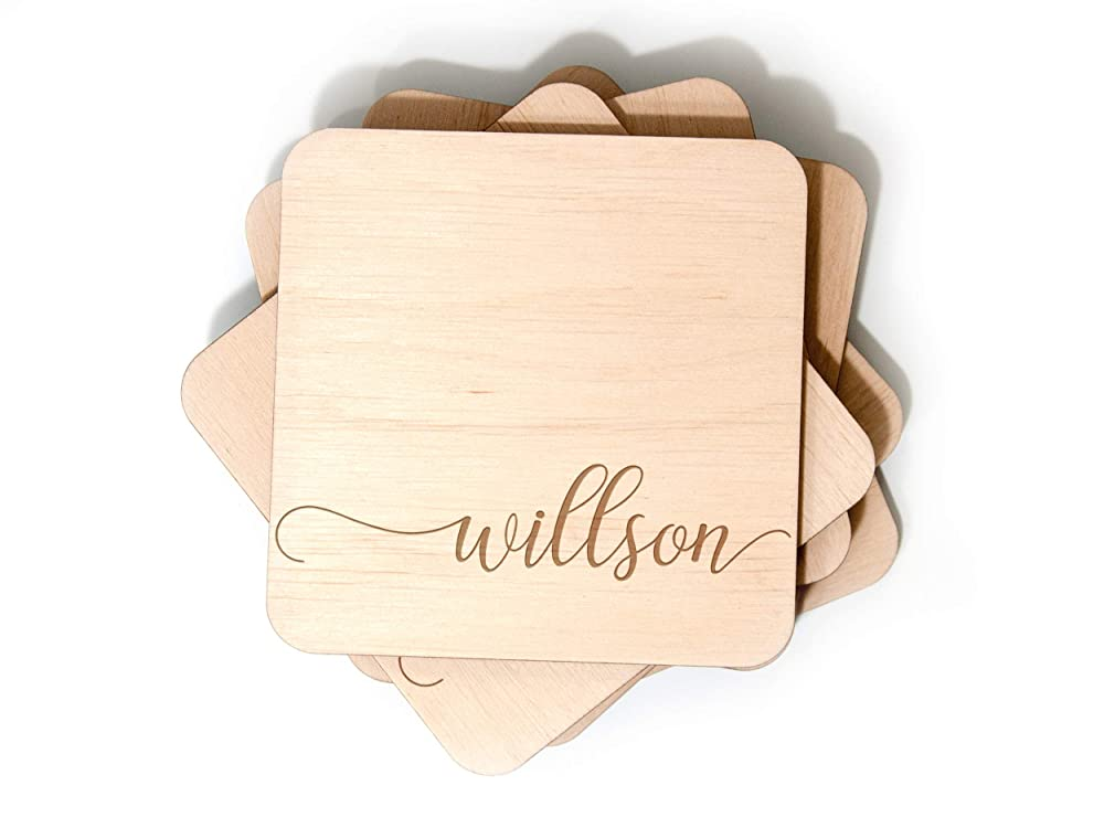 real maple or acrylic coasters engagement gifts bridal party Custom laser engraved wooden drink coasters set housewarming bar decor