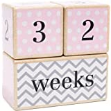 LovelySprouts Solid Wood Milestone Age Blocks Choose From 3 Different Color Styles (Pink) Baby Age Photo Blocks Perfect Baby Shower Gift And Keepsake By