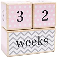 LovelySprouts Milestone Age Blocks Solid Wood Baby Age Photo Blocks Perfect Baby Shower Gift, Pink