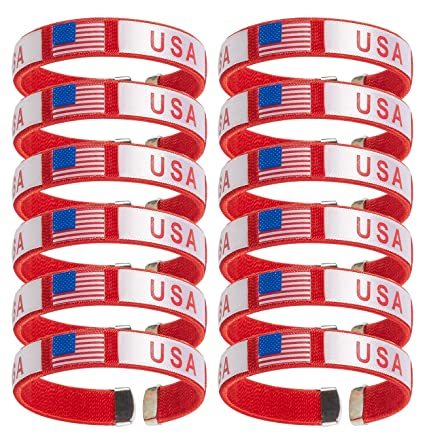 2d1c81d96580 Paquete de 12 – Pulsera de bandera americana bandera de Estados Unidos  cinta pulseras