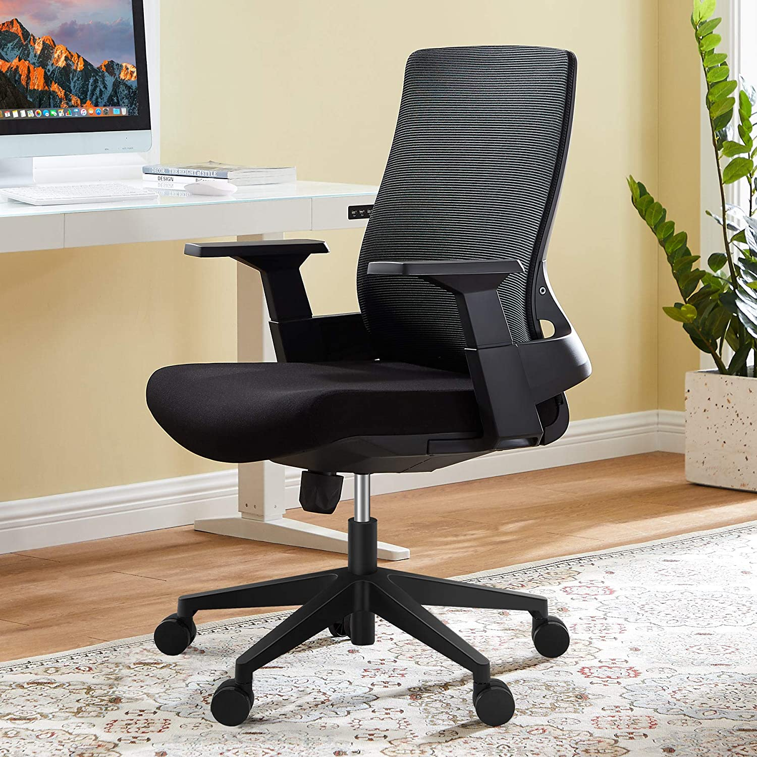 Office Chairs, Ergonomic Office Chair with Lumbar Support, Tribesigns Mid Back Swivel Chair with Breathable Mesh, Thick Seat Cushion, Modern Executive Adjustable Rolling Swivel Chair Home Office