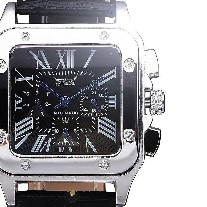 JARAGAR Relojes Hombres Militar automático de lujo del reloj mecánico multifunción FECHA sub-Dial de cuero reloj de pulsera: Amazon.es: Relojes