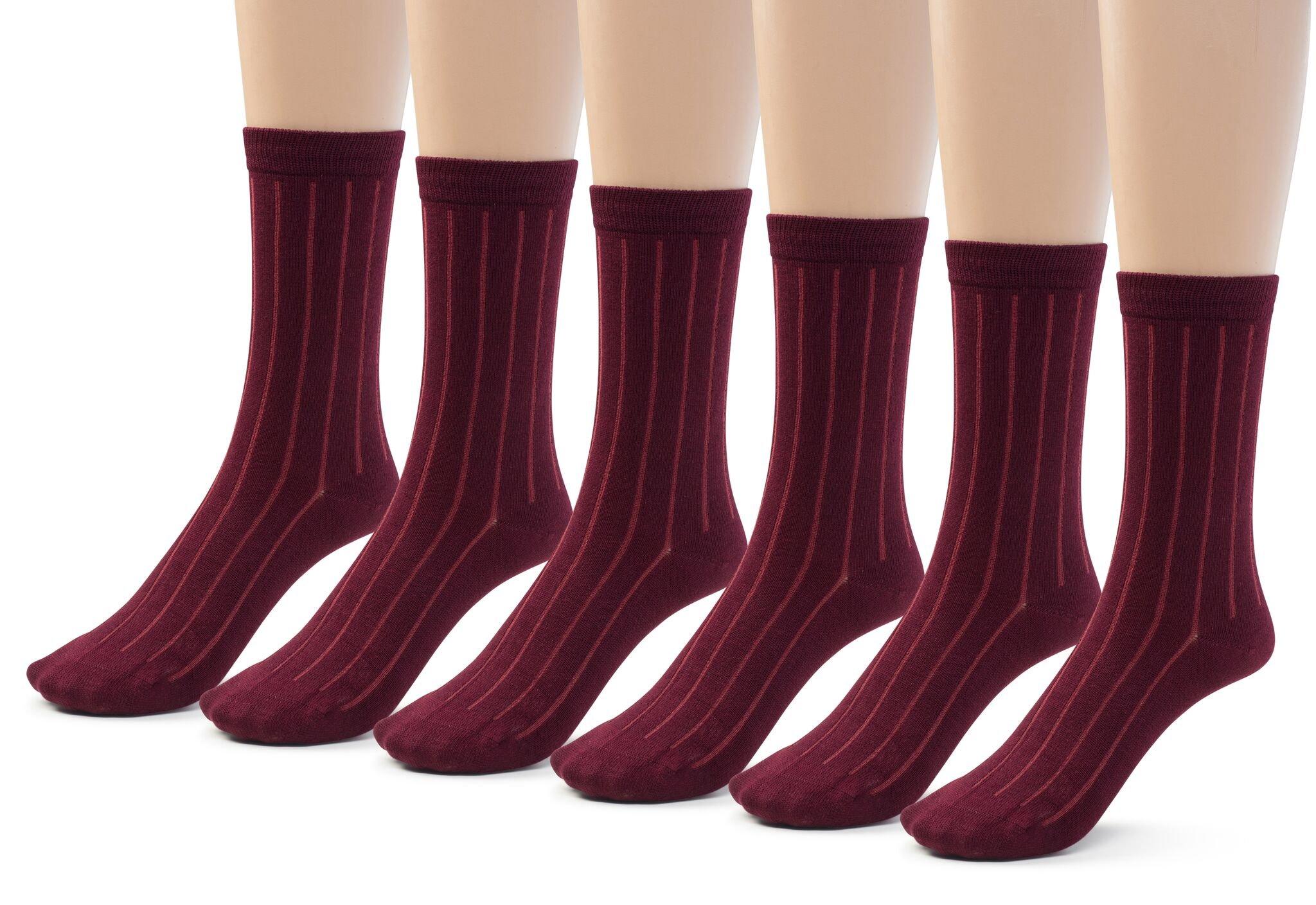 Silky Toes 6 Pk Bamboo Ribbed Boys Girls Crew Socks, Casual School Uniform Basic Socks (Large (9-11), Burgundy (6 Pack))