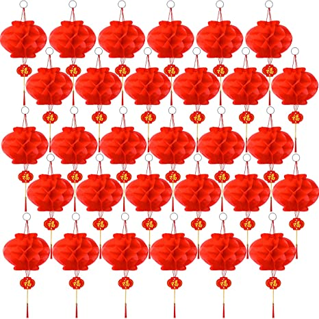 Pangda 30 Packs Chinese Red Lanterns for Chinese New Year Decoration to Drive Off Bad Luck