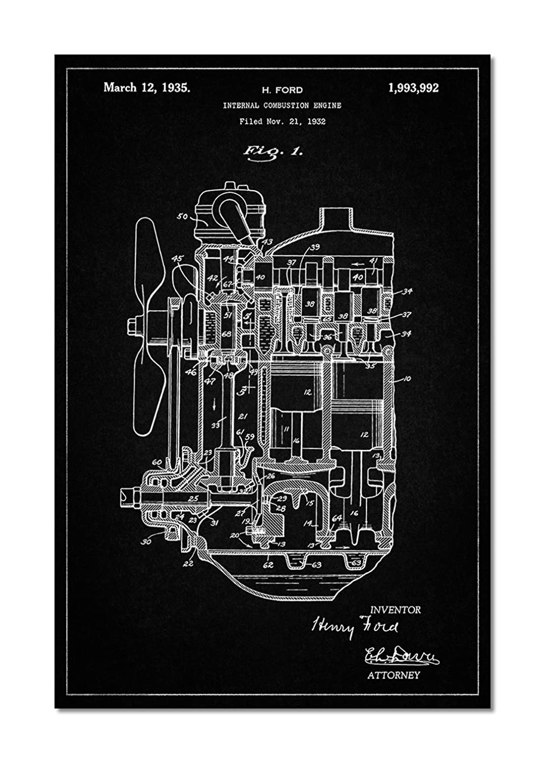 Internal Combustion Engine Patent Poster Posters Prints Diagram For Idiots