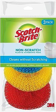 Scotch-Brite Non-Scratch Plastic Scrubbing Pads, 3 Scrubbing Pads, Assorted