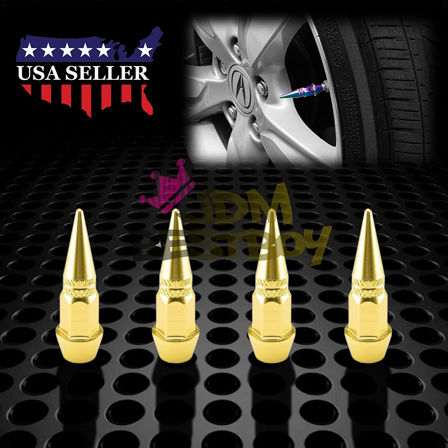 4PCs Neo Chrome Long Spike Tire Valve Stem Caps Metal Thread Wheel Tires TVC20