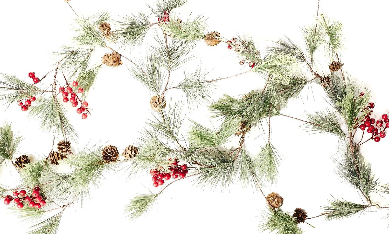 Christmas Smokey Pine and Red Berry Garland - ChristmasTablescapeDecor.com