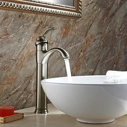 Beau GotHobby Brushed Nickel Vessel Sink Bathroom Faucet Lavatory Single Handle