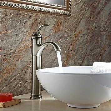 gothobby brushed nickel vessel sink bathroom faucet lavatory single handle