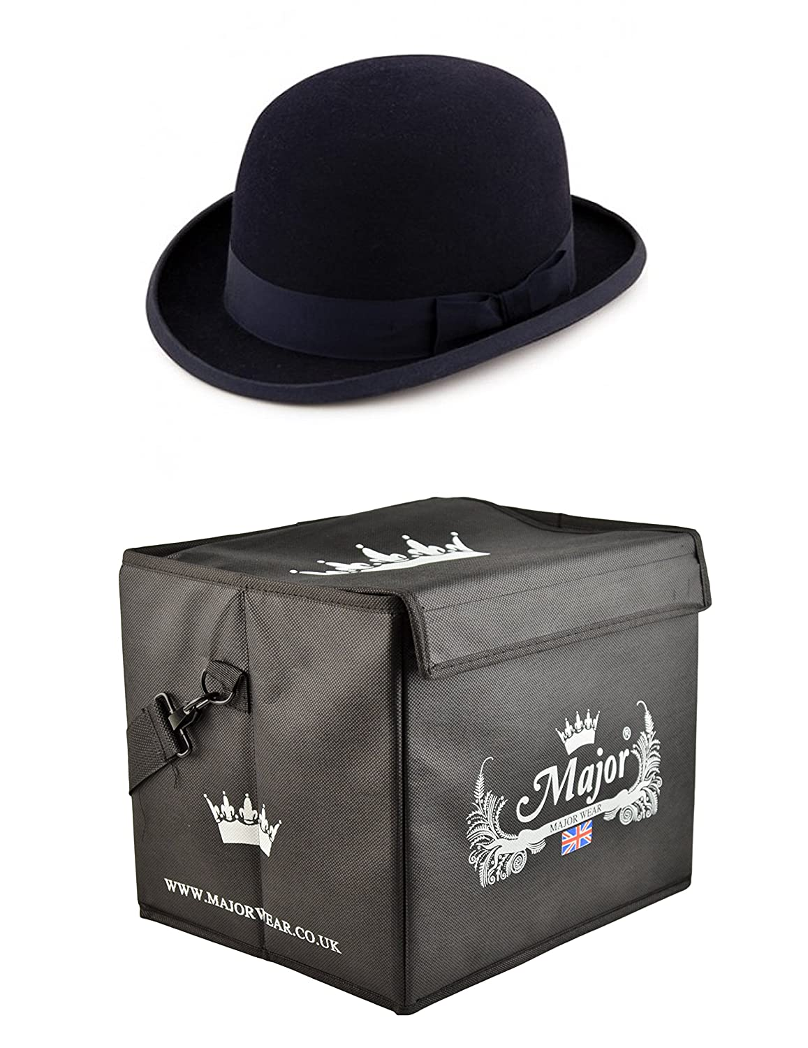 Major Wear Black Wool Felt Stiff Bowler Hat Satin Lined complete with Hat Box