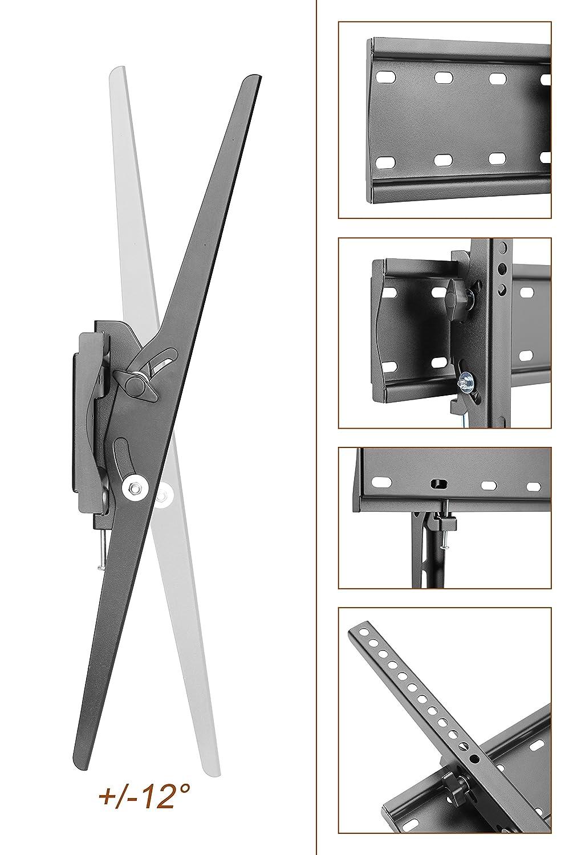 RICOO TV Wandhalterung N2144 Universal Fernseh Halterung Neigbar Super Flach Wand Halter Aufh/ängung auch f/ür Curved LCD und LED Fernseher VESA 200x100 400x400 ca Schwarz 81-165cm // 32-65 Zoll