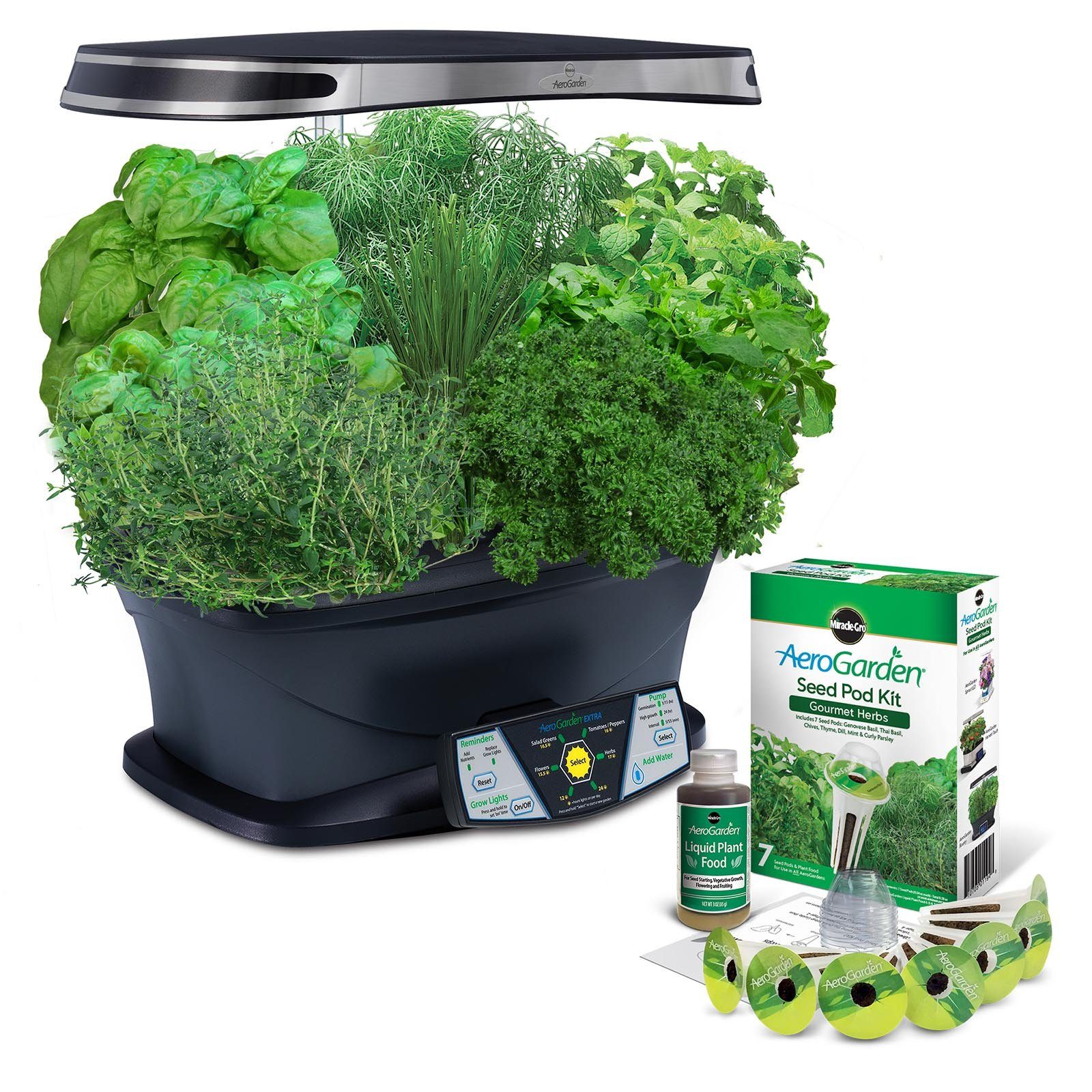 AeroGarden Extra (LED) with Gourmet Herb Seed Pod Kit by AeroGrow