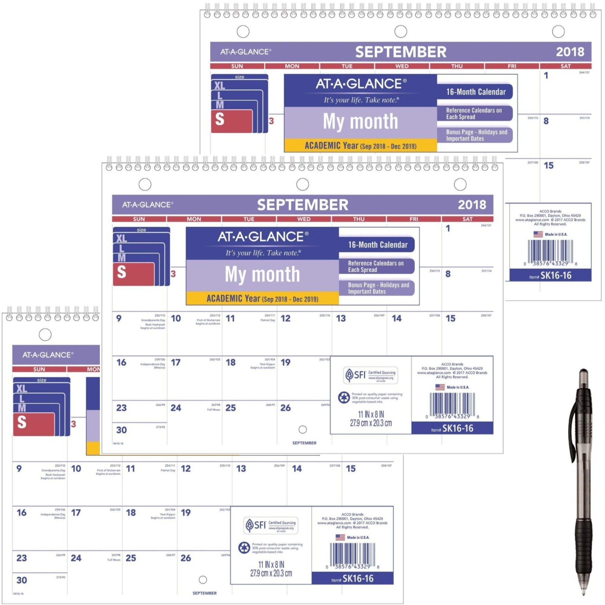 AT-A-GLANCE 2018-2019 Academic Year Desk & Wall Calendar, 11 x 8, Small, Wirebound (SK1616) 3 Pack - Bundle Includes Black Ballpoint Pen