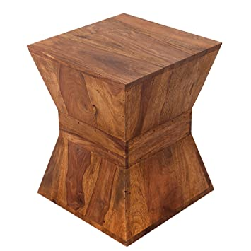 PYRAMID Design Side Table 45 Cm Solid Wood Stool Sheesham Stone Finish