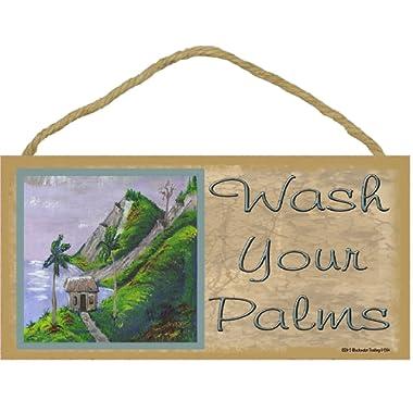 Wash Your Palms Tropical Palm Tree Beach Ocean Bath Wall Decor Sign Plaque 5 X10