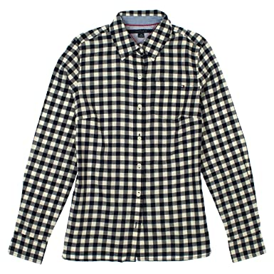 e462d519 Tommy Hilfiger Womens Checkered Button Up Shirt XXL Masters Navy at Amazon  Women's Clothing store:
