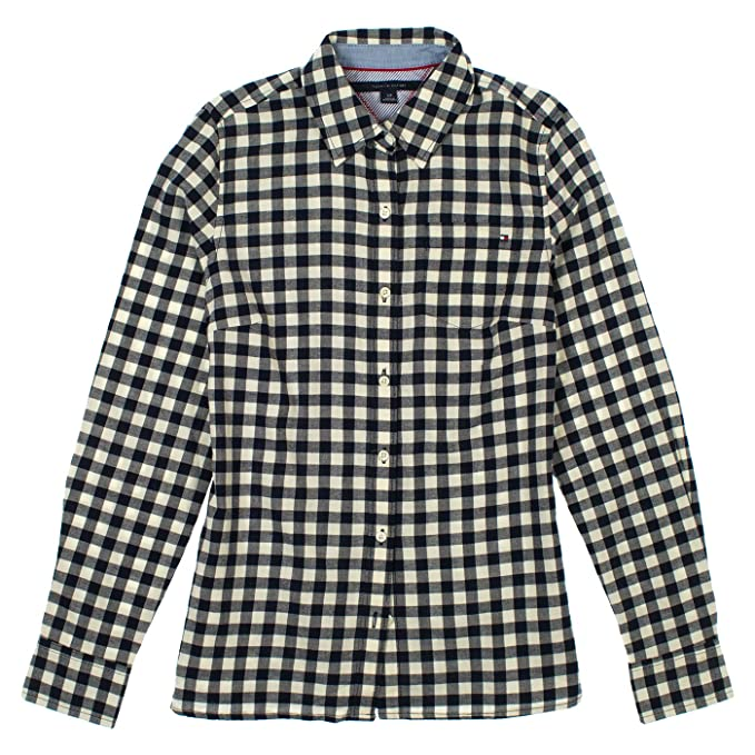 Amazon.com: Tommy Hilfiger Womens cuadros botón Up Camisa ...