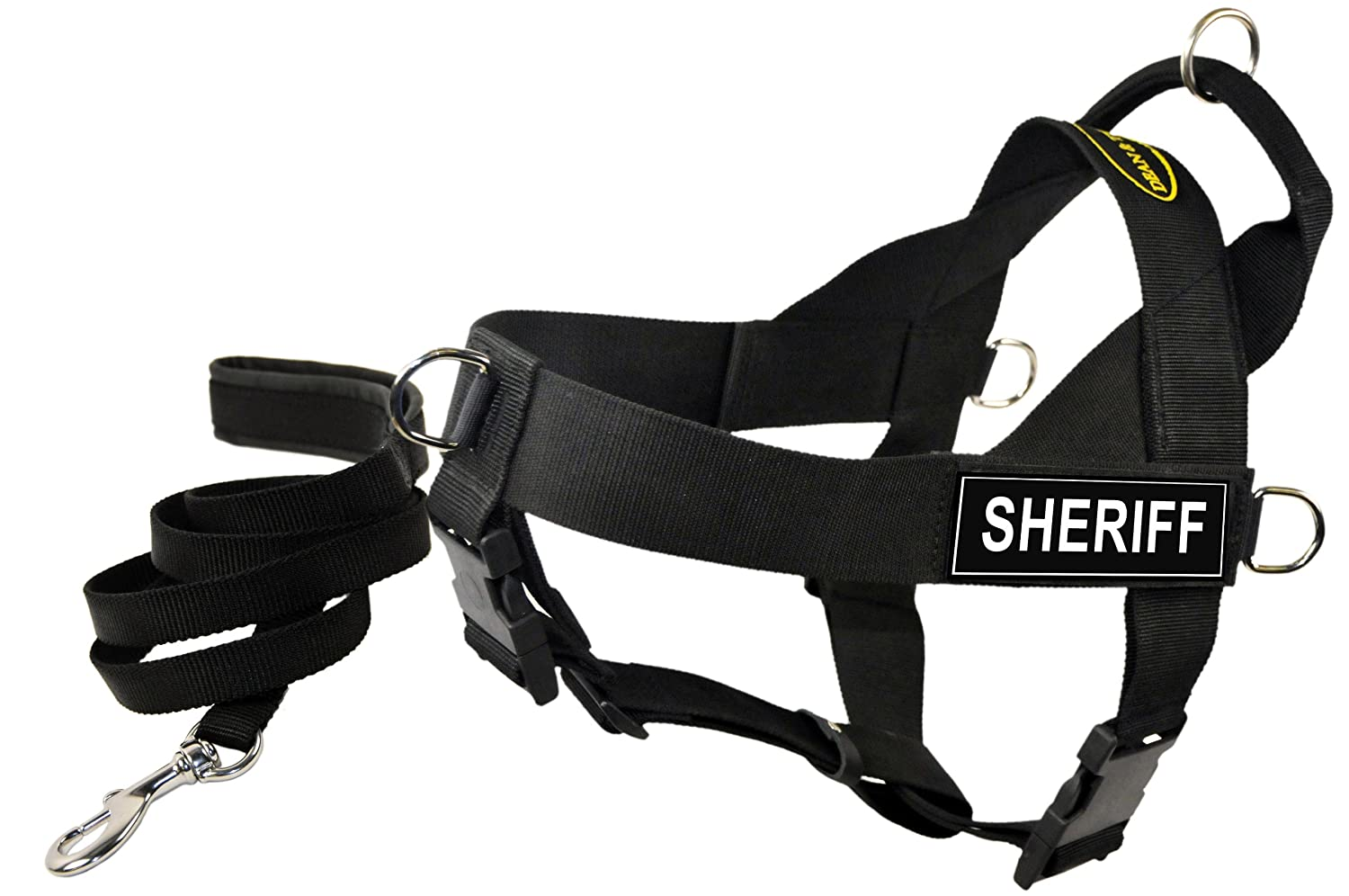 Dean and Tyler Bundle One DT Universal Harness, Sheriff, Medium (26, 32) + One Padded Puppy Leash, 6-Feet Stainless Steel Snap, Black