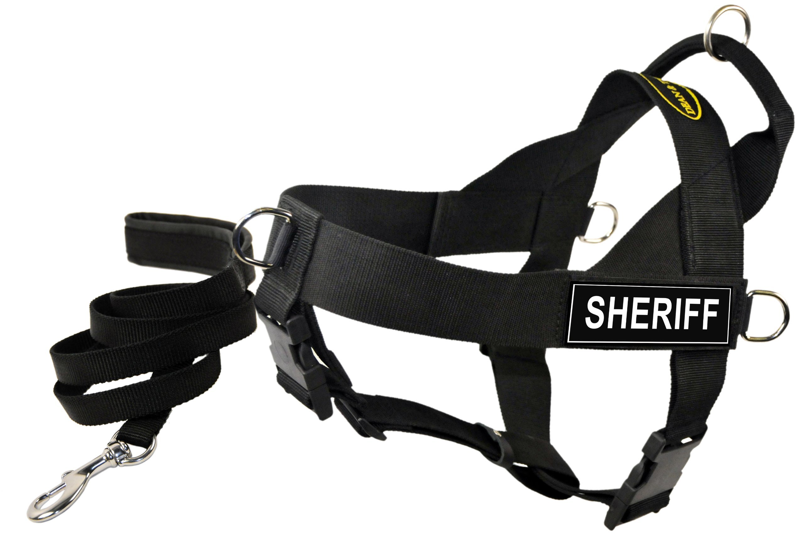 Dean and Tyler Bundle One DT Universal Harness, SERVICE DOG IN TRAINING , XL (36'' - 47'')with One Matching Padded Puppy Leash, 6-Feet Stainless Snap, Black